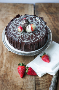 Chocolate Biscuit Cake with strawberries